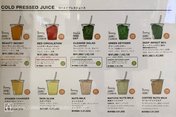 JUICERY by Cosme Kitchen ジュースクレンズメニュー